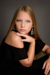 elegant modeling pose of blonde girl